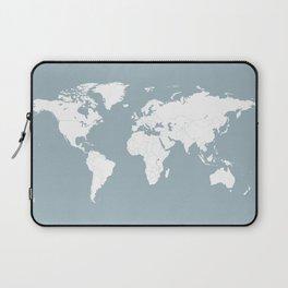 Minimalist World Map in Slate Blue Laptop Sleeve