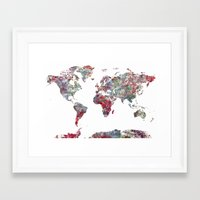 map Framed Art Prints featuring World Map  by MapMapMaps.Watercolors