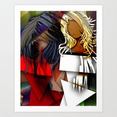 Cubist BFF's Art Print