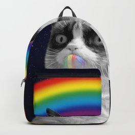 cat all over galaxy rainbow puke Space Crazy Cats Backpack