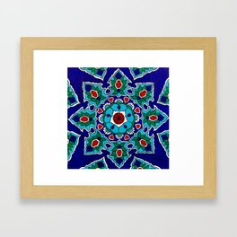 Blue Geometric Suzani Framed Art Print