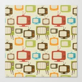 retro TV set pattern background. Vector illustration. Canvas Print