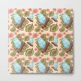 Vintage brown pink teal cute birds botanical floral Metal Print