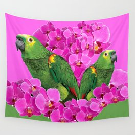 GREEN MACAWS WITH PINK ORCHID FLOWERS ART Wall Tapestry