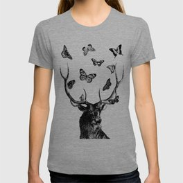 The Stag and Butterflies | Deer and Butterflies | Vintage Stag | Vintage Deer | Black and White | T-shirt
