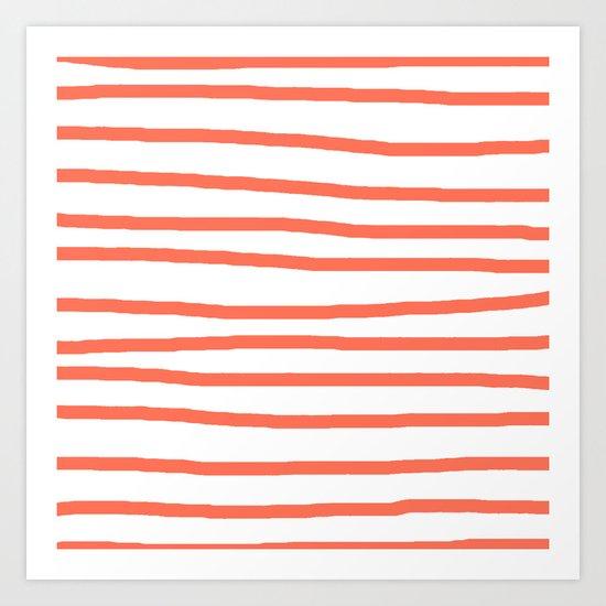 Simply Drawn Stripes in Deep Coral Art Print