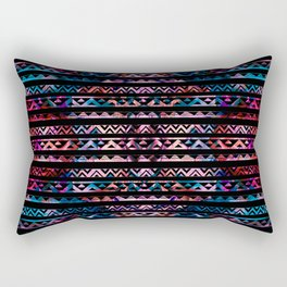 Geometric Lines Tribal  gold on abstract paint Rectangular Pillow