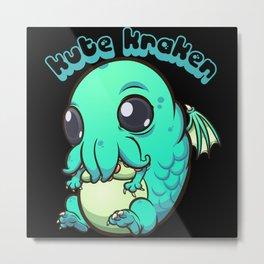 Kute Kraken - Cute Kraken Baby Monster Metal Print