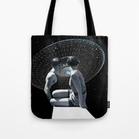 discount Tote Bags featuring Check it out by TRASH RIOT