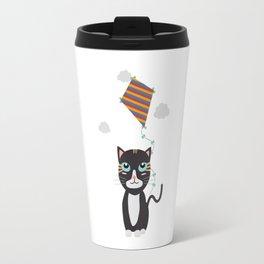 Cat with Kite Travel Mug