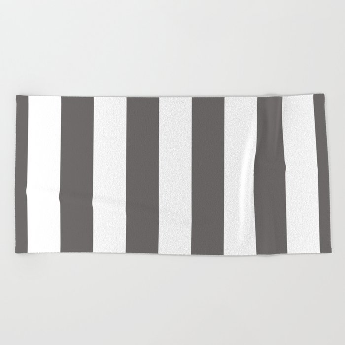 Ash Gray And White Vertical Cabana Tent Stripes Beach Towel By Honorandobey