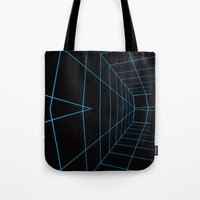 tron Tote Bags featuring Tron Lines by Kookyphotography
