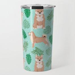 Shiba Inu summer monstera tropical pure breed dog gifts Travel Mug
