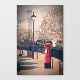 Red Postbox In Spring Canvas Print