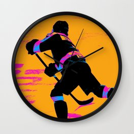 He Shoots! - Hockey Player Wall Clock