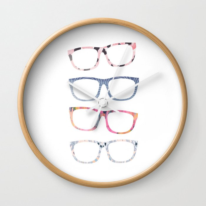 f2b2bbed751 Bespectacled // Watercolor Glasses Print Wall Clock by ...