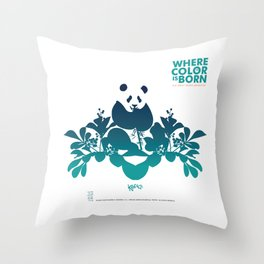 "Köpke's ""Where Color is Born - The Great Panda Adventure"" Throw Pillow"