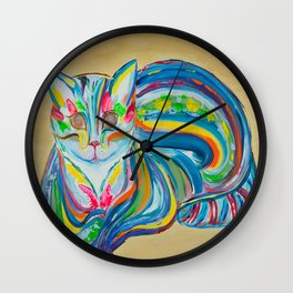 Hypnotic Rainbow Cat on neutral background Wall Clock