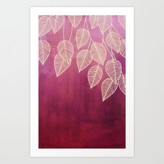 Magenta Garden - watercolor & ink leaves Art Print