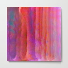 Striped Watercolor Art vibrant Red and Pink Metal Print