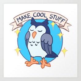 Make Cool Stuff owl emblem Art Print