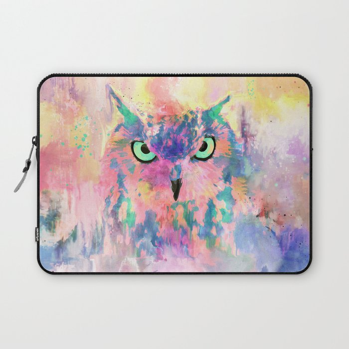 Watercolor eagle owl abstract paint Laptop Sleeve