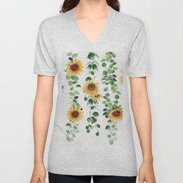 Eucalyptus and Sunflowers Garland  Unisex V-Neck