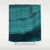 malachite Shower Curtains featuring Blue waves by contemporary