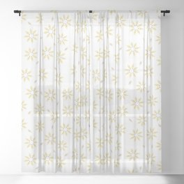 Spring Flower Motif Daisy Style Seamless Pattern Sheer Curtain