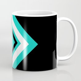 Teal Black and White Diamond Shapes Digital Illustration - Artwork Coffee Mug
