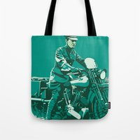 palestine Tote Bags featuring T.E. Lawrence on his Brough Superior by Saddle Bums