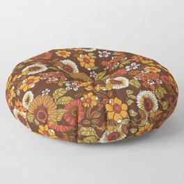 70s retro ditzy flowers, boho, browns, orange, hippie Floor Pillow