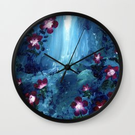 Pink Flowers by a Waterfall Wall Clock