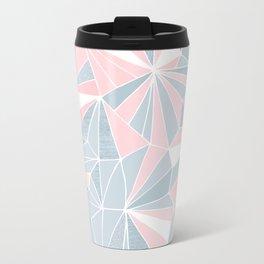 Cool blue/grey and pink geometric prism pattern Metal Travel Mug