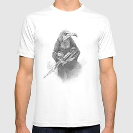 Hooded Vulture with Uilleann Pipes by Pia Tham T-shirt