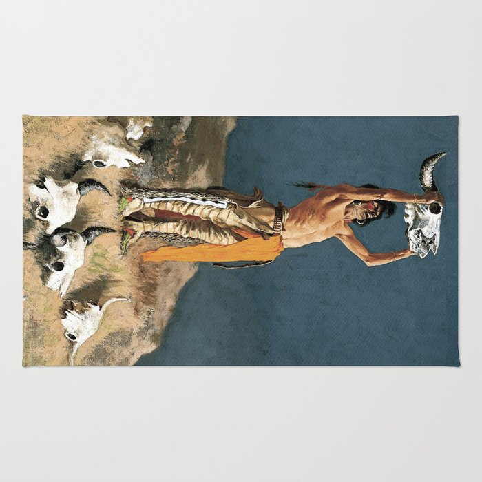 """Western Art """"Conjuring Back the Buffalo"""" by Frederic Remington Rug"""