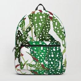 Polka Dot Begonia Leaves in White Backpack