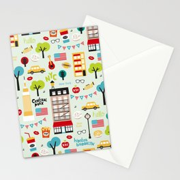 Fun New York City Manhattan travel icons life hipster pattern Stationery Cards