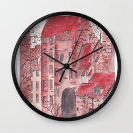 English castle watercolor illustration Wall Clock