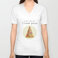 pizza V-neck T-shirts featuring pizza by Maha Akl