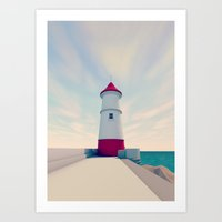 Low Poly Lighthouse Art Print