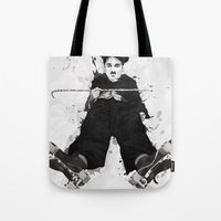 chaplin Tote Bags featuring CHAPLIN by Analy Diego