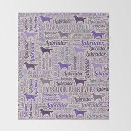 Labrador retriever silhouette and word art pattern Throw Blanket