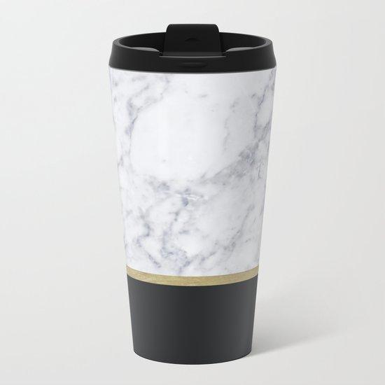 MARBLE GOLD BLACK Metal Travel Mug