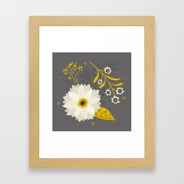 Cream and Grey Floral Collage Framed Art Print