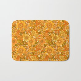 Flower power orange Bath Mat