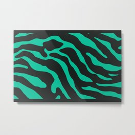 Tiger Skin Pattern Caribbean Green Metal Print