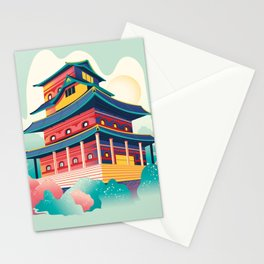 Hand Drawn Traditional Japanese Castle Stationery Cards