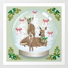 Snow globe deer Art Print