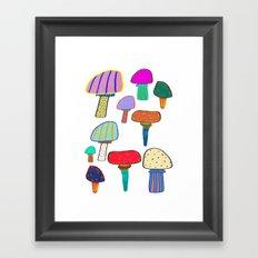 Mushrooms, mushroom print, mushroom art, illustration, design, pattern, Framed Art Print